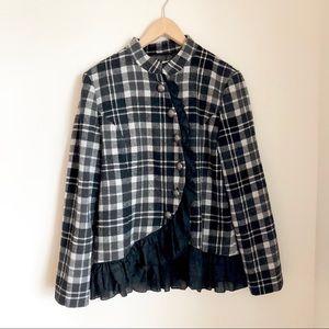 Black and White Plaid Ruffle Jacket | Kenzie
